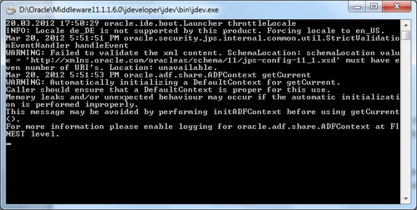 JDeveloper Output Console