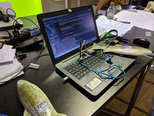 DeveloperLaptopWithFishAndMicrocontrollerWIthSensors